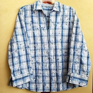 Foxcroft Embroderied Blue White Zip Blouse Size 16